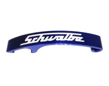 """Flaschenöffner, blau eloxiert, mit Lasergravur """"Schwalbe"""""""
