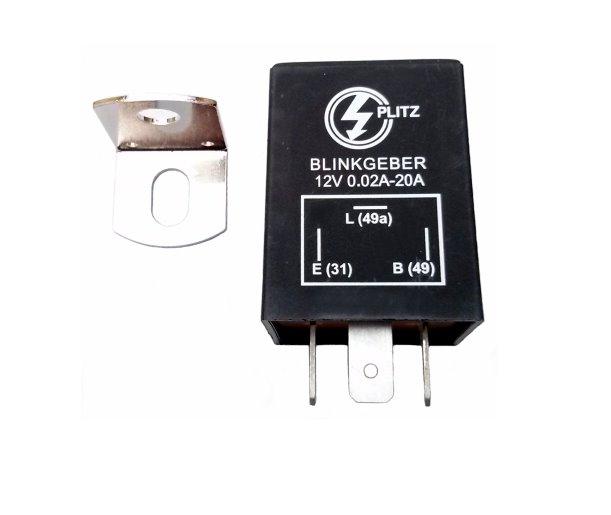 Elektronischer Blinkgeber 12V PLITZ - 3-poliger Anschluß (31, 49, 49a) - mit Haltewinkel