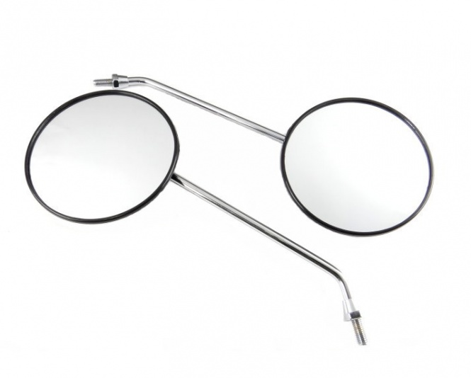 Rückblickspiegel - Set 2 Stück -  ø 110 mm - Gewinde M8, verchromter Spiegelarm, Muschelform - links u. rechts verwendbar