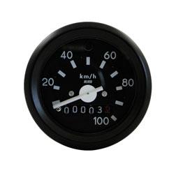 Tacho mit Beleuchtung und Blinkkontrollleuchte grün - ø60 mm - 100 km/h
