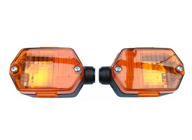SET Blinker eckig, für vorn oder hinten - orange - mit E-Prüfzeichen