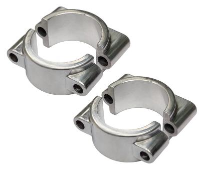 SET: 2 x Formstück + 2 x Klemmbrücke für vorderes Schutzblech, innen + außen - poliert