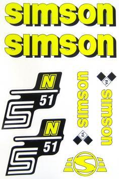 SET: Klebefolie S51N, Aufkleber für SIMSON Tank und Seitendeckel, gelb