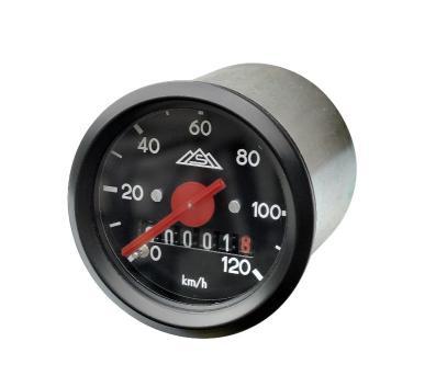 Tacho mit Beleuchtung - Ring und Skale schwarz - ø48 mm - 120 Km/h - S50