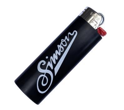 BIC-Feuerzeug, schwarz - mit Chromkappe - Alter Schriftzug SIMSON und Allzeit Gute Fahrt