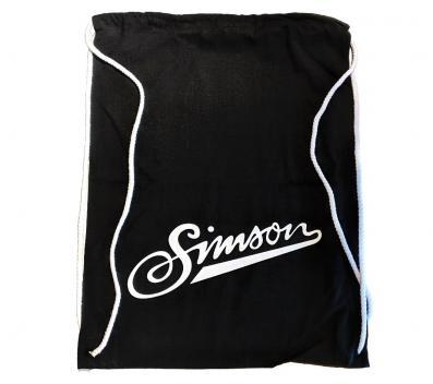 Sportbeutel - schwarz, mit Kordelzugverschluss - 100% Baumwolle - Motiv: SIMSON