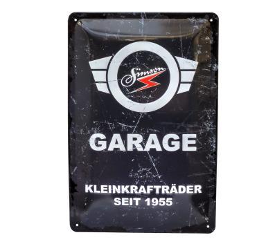 """Blechschild, grau-weiß - Motiv: """"SIMSON-Garage"""""""
